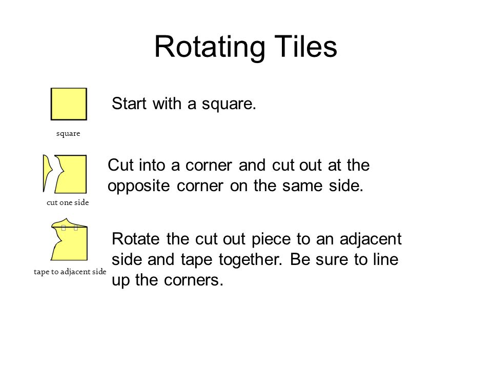 Rotating Tiles Start with a square.