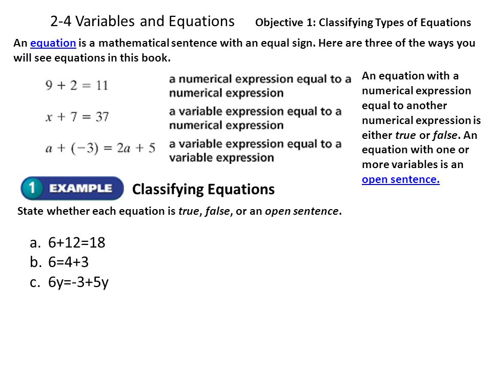 2-4 Variables and Equations