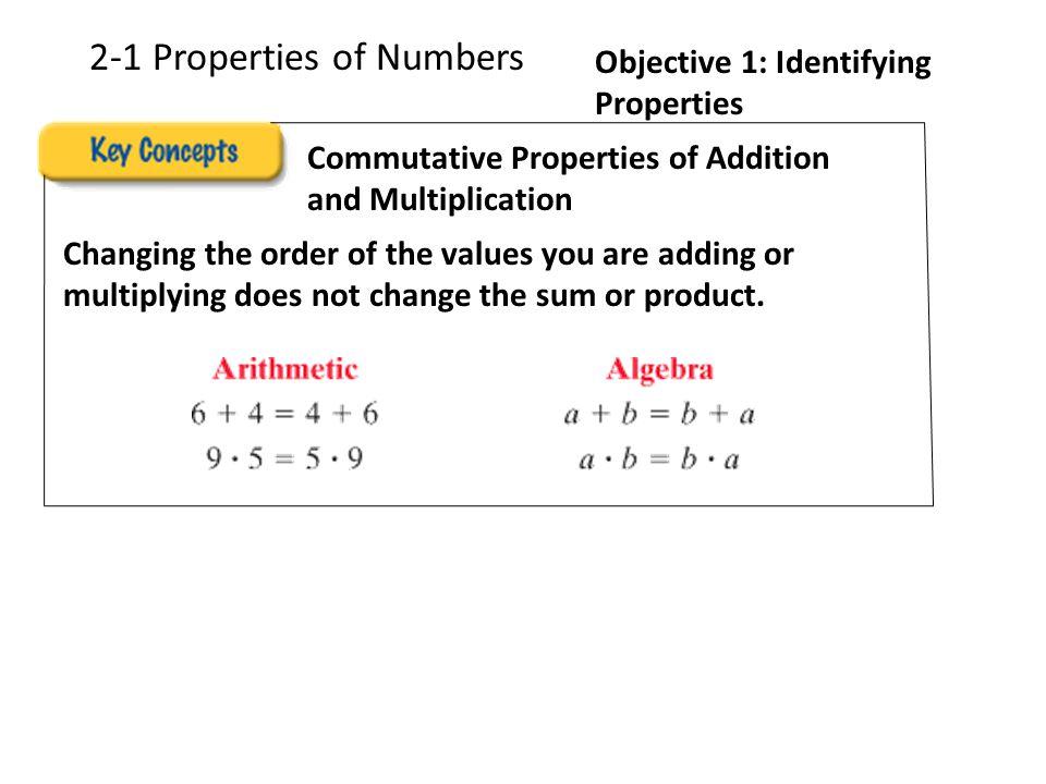2-1 Properties of Numbers