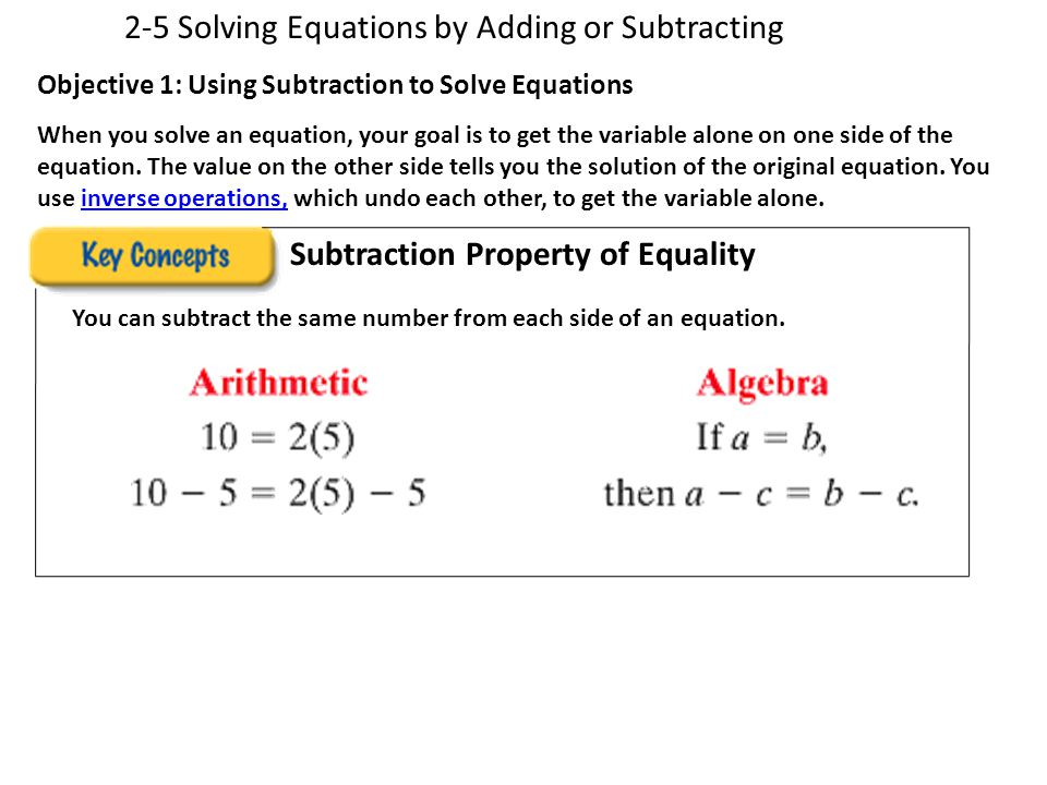 2-5 Solving Equations by Adding or Subtracting