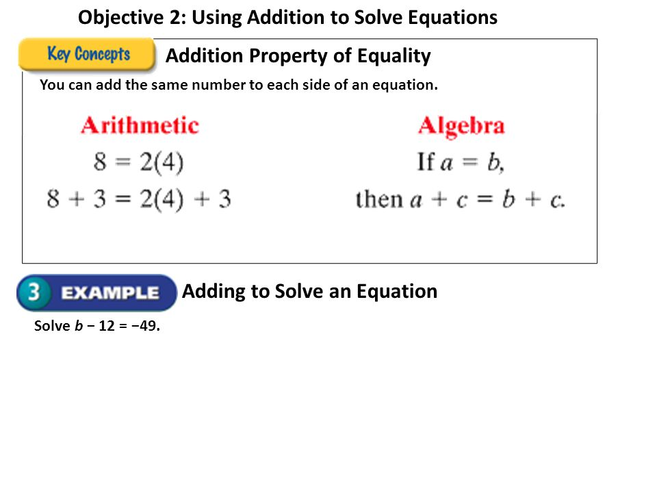 Objective 2: Using Addition to Solve Equations