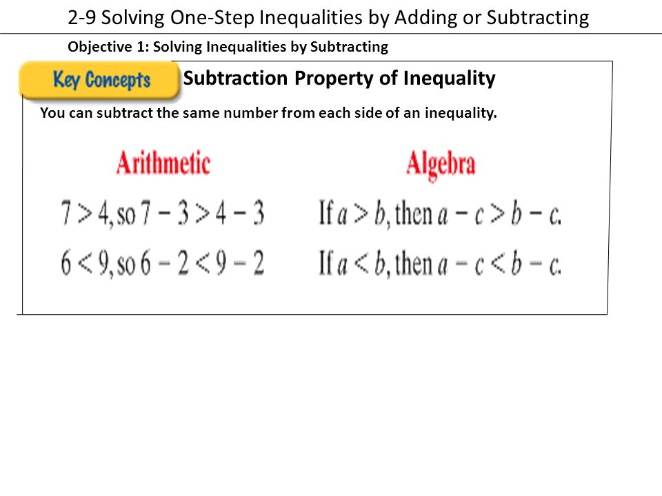 2-9 Solving One-Step Inequalities by Adding or Subtracting
