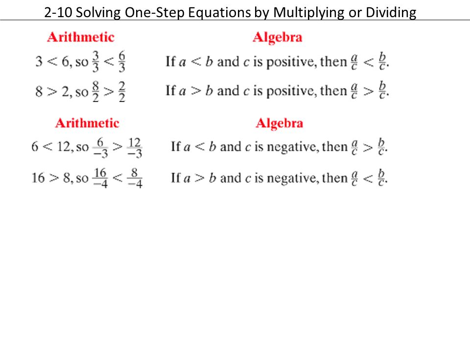 2-10 Solving One-Step Equations by Multiplying or Dividing