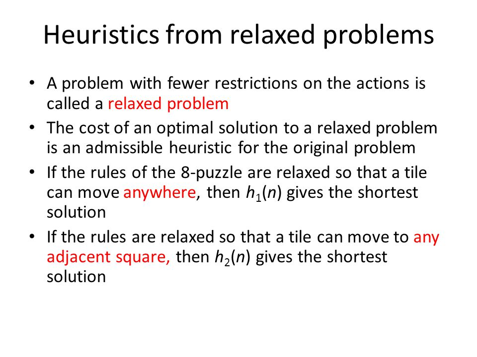 Heuristics from relaxed problems