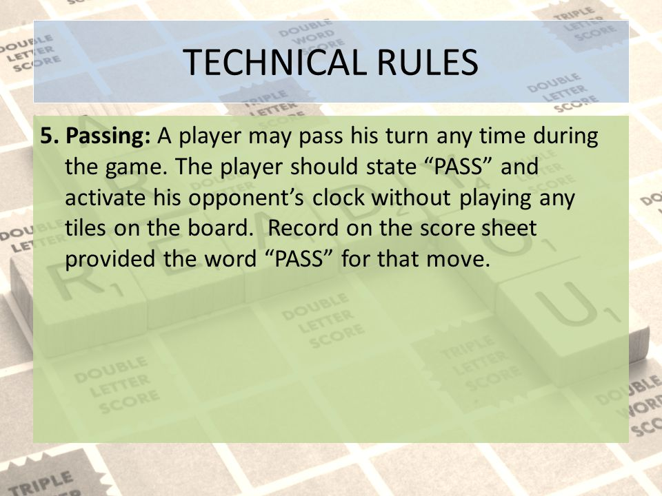 TECHNICAL RULES