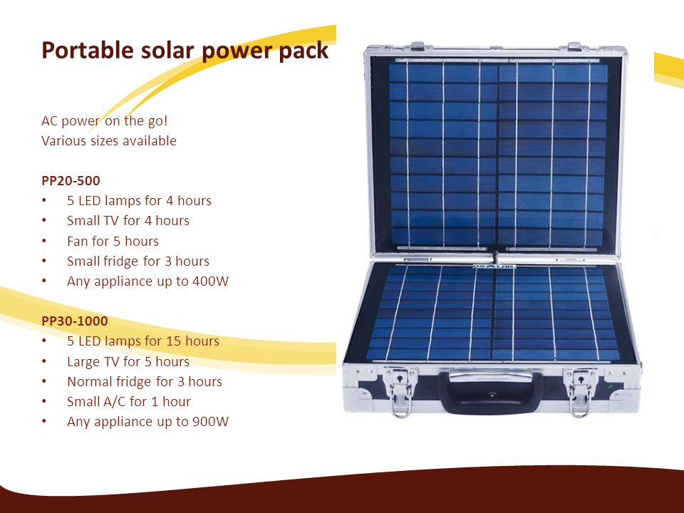 Portable solar power pack