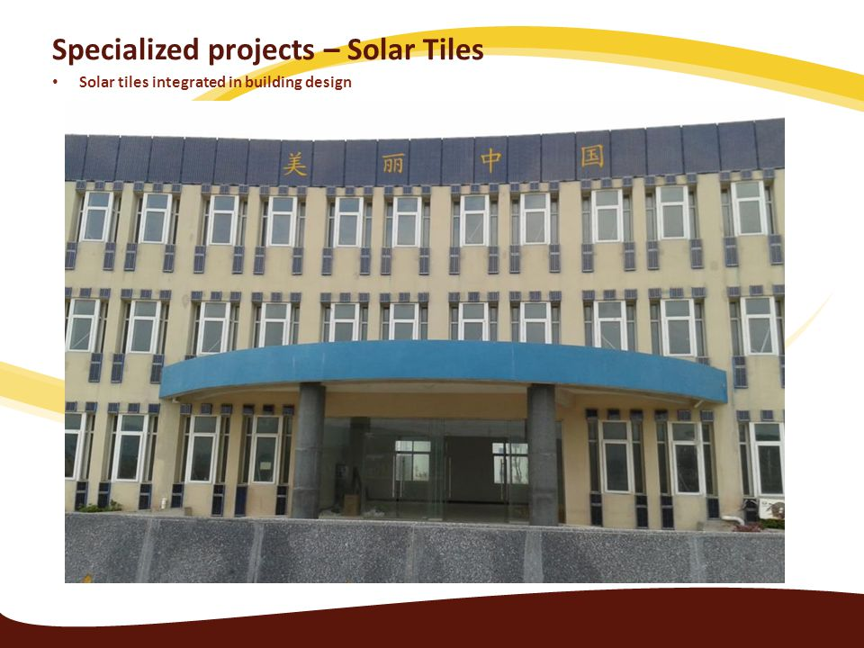 Specialized projects – Solar Tiles