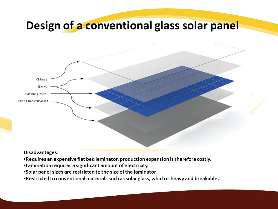 Design of a conventional glass solar panel