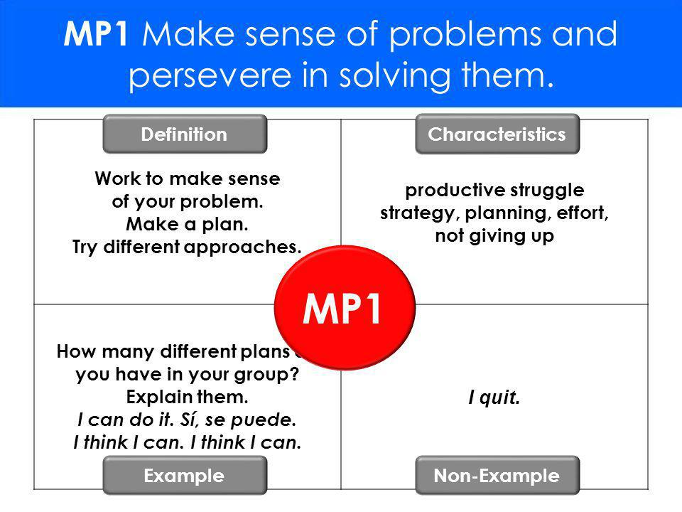 MP1 Make sense of problems and persevere in solving them.