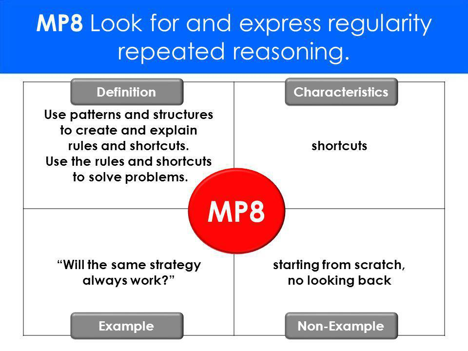 MP8 Look for and express regularity repeated reasoning.