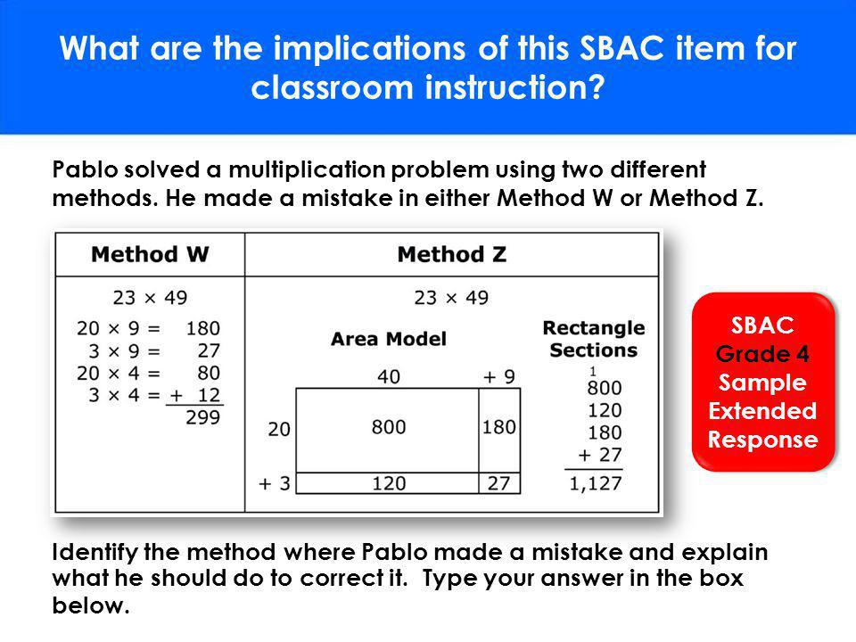 What are the implications of this SBAC item for classroom instruction