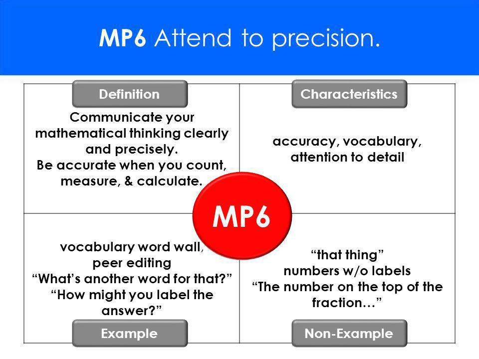 MP6 MP6 Attend to precision. Definition Characteristics
