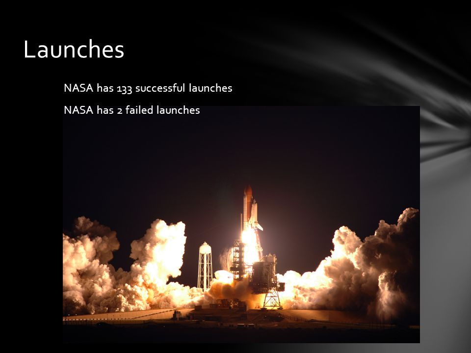 Launches NASA has 133 successful launches NASA has 2 failed launches