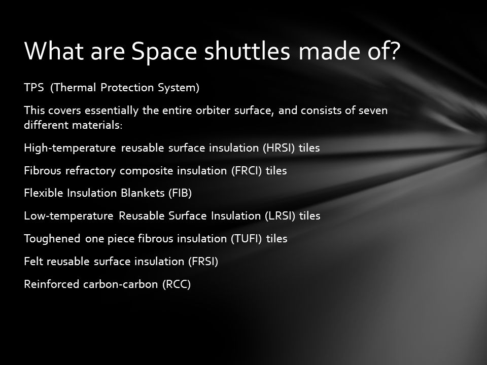 What are Space shuttles made of