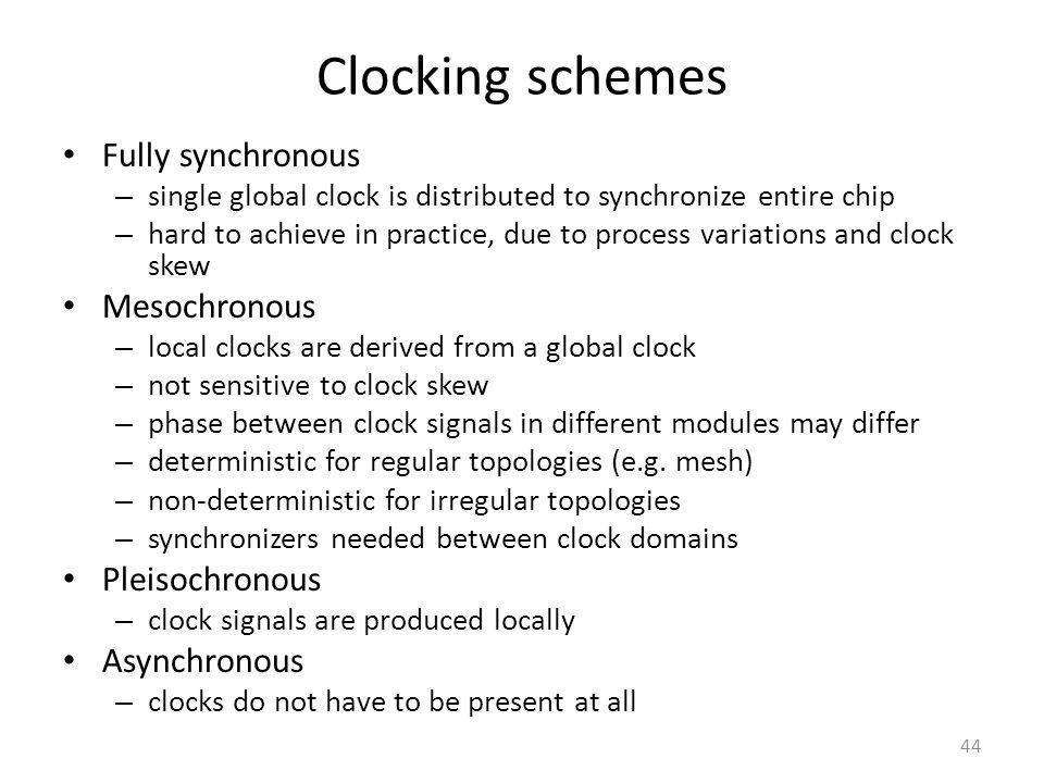 Clocking schemes Fully synchronous Mesochronous Pleisochronous
