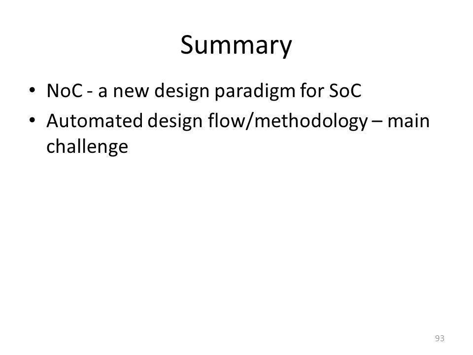 Summary NoC - a new design paradigm for SoC