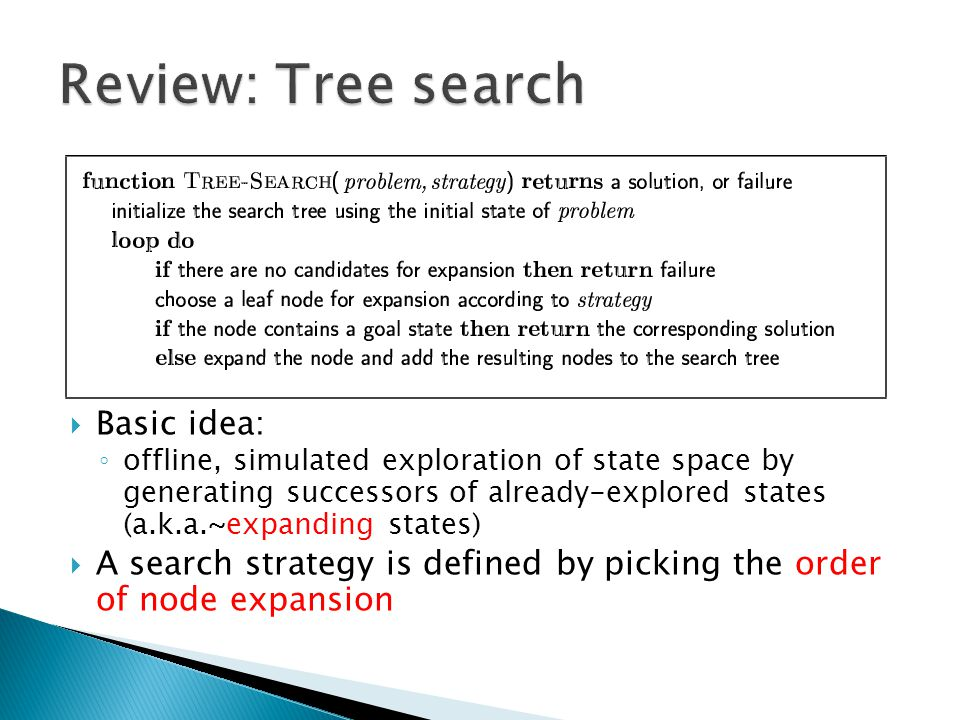 Review: Tree search Basic idea: