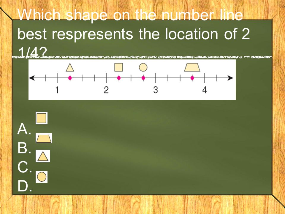 Which shape on the number line best respresents the location of 2 1/4