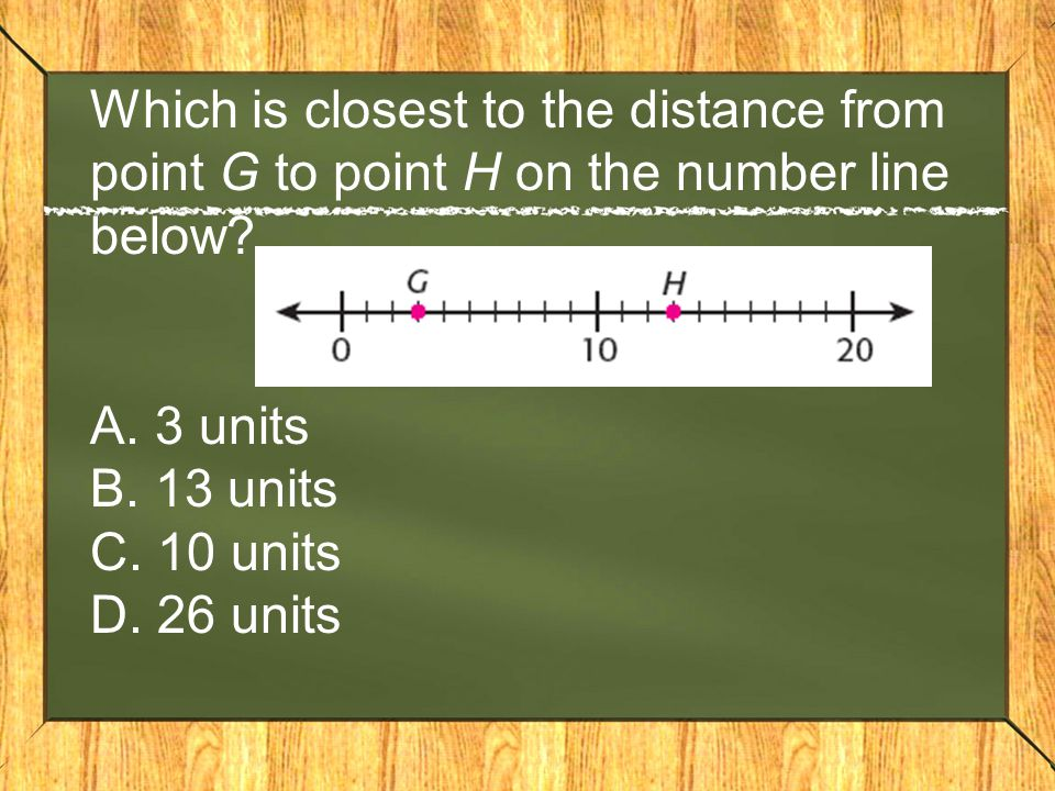 Which is closest to the distance from point G to point H on the number line below.