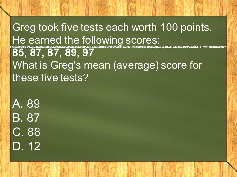 Greg took five tests each worth 100 points