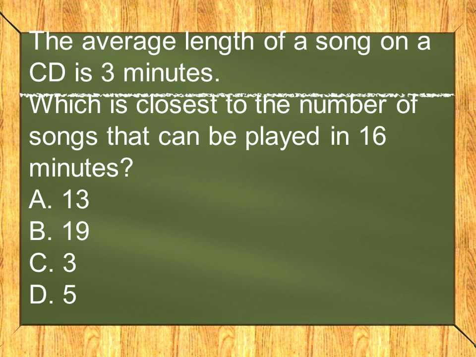 The average length of a song on a CD is 3 minutes