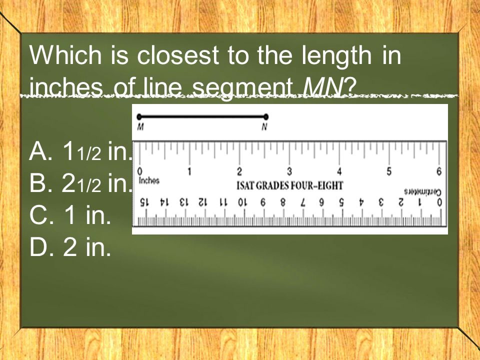 Which is closest to the length in inches of line segment MN.
