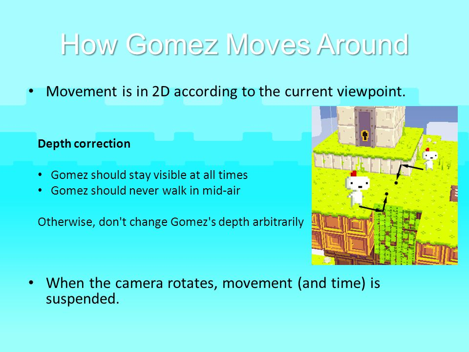 How Gomez Moves Around Movement is in 2D according to the current viewpoint. When the camera rotates, movement (and time) is suspended.
