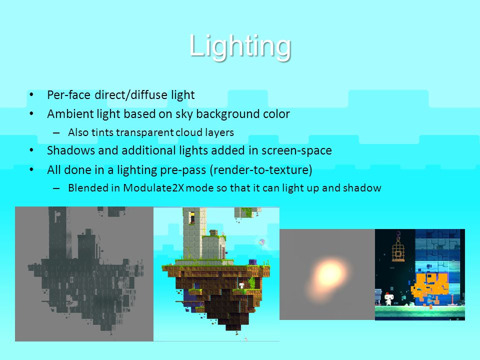 Lighting Per-face direct/diffuse light