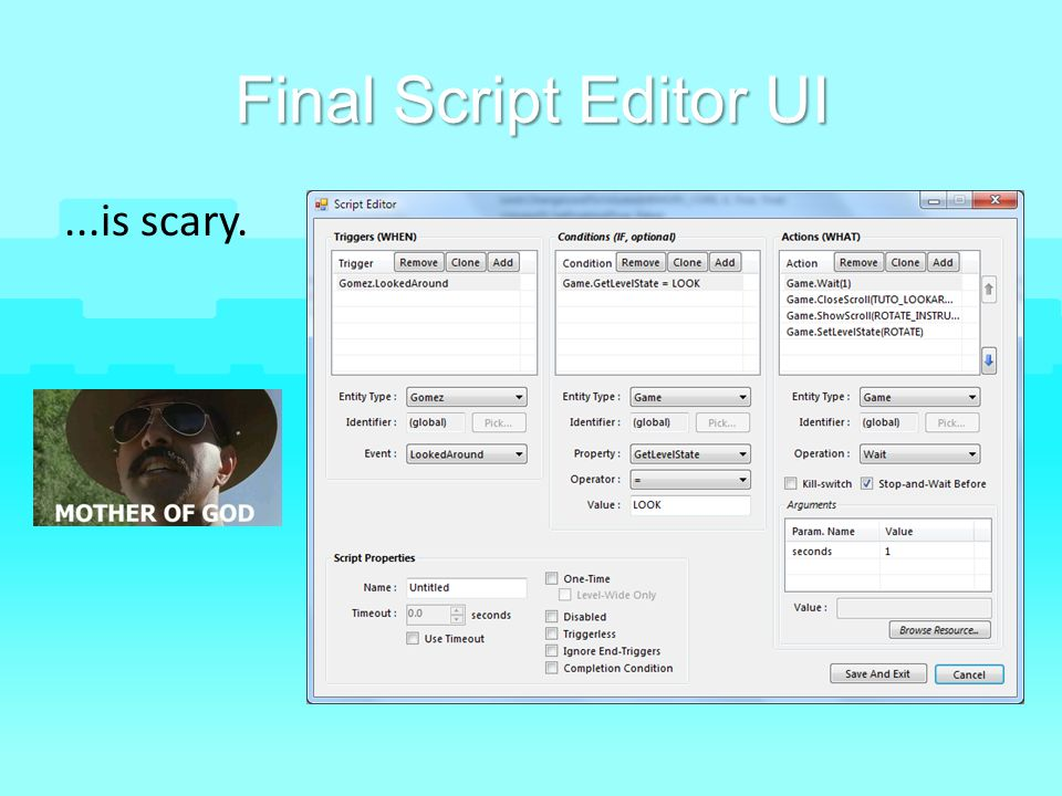 Final Script Editor UI ...is scary.