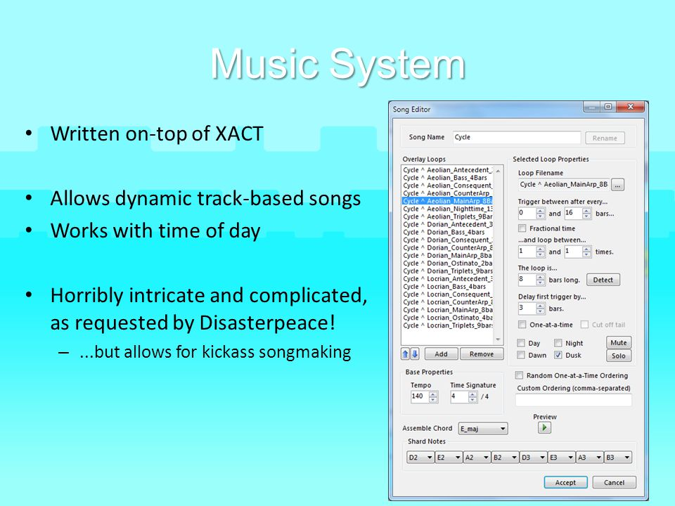 Music System Written on-top of XACT Allows dynamic track-based songs