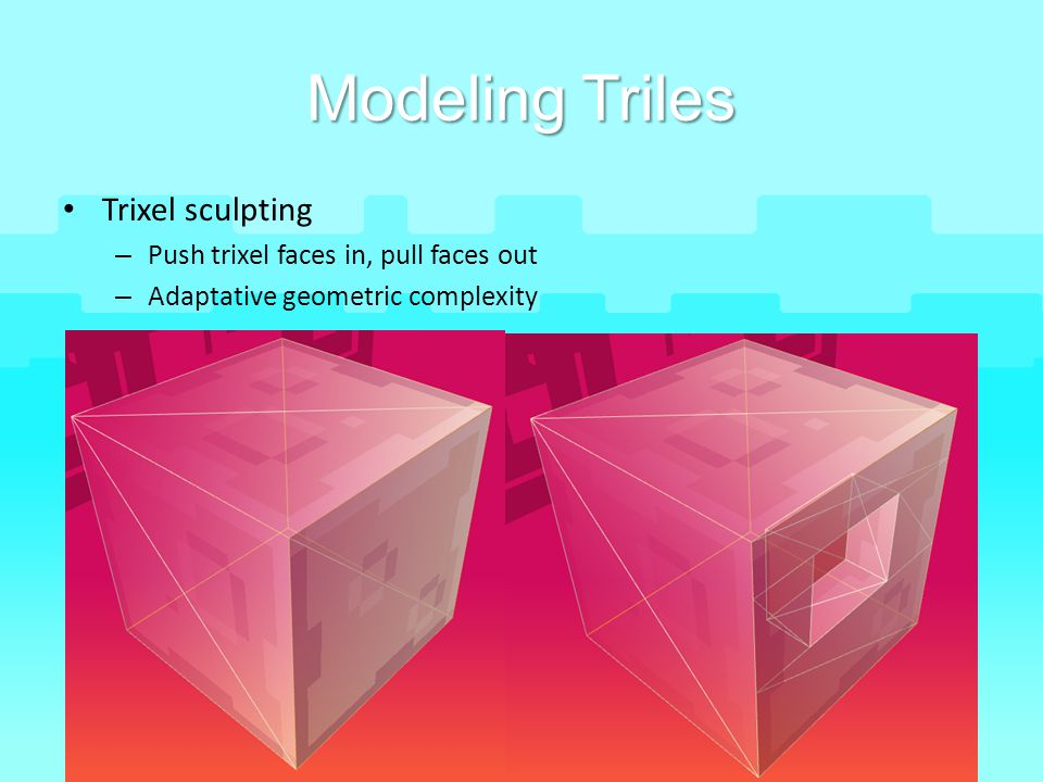 Modeling Triles Trixel sculpting Push trixel faces in, pull faces out