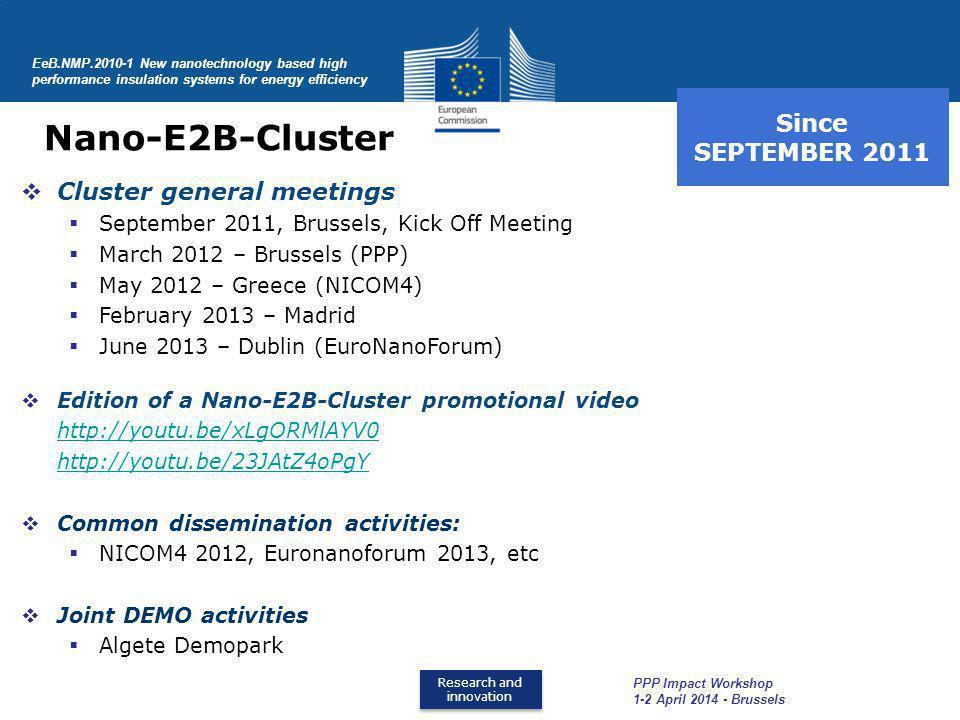 Nano-E2B-Cluster Since SEPTEMBER 2011 Cluster general meetings