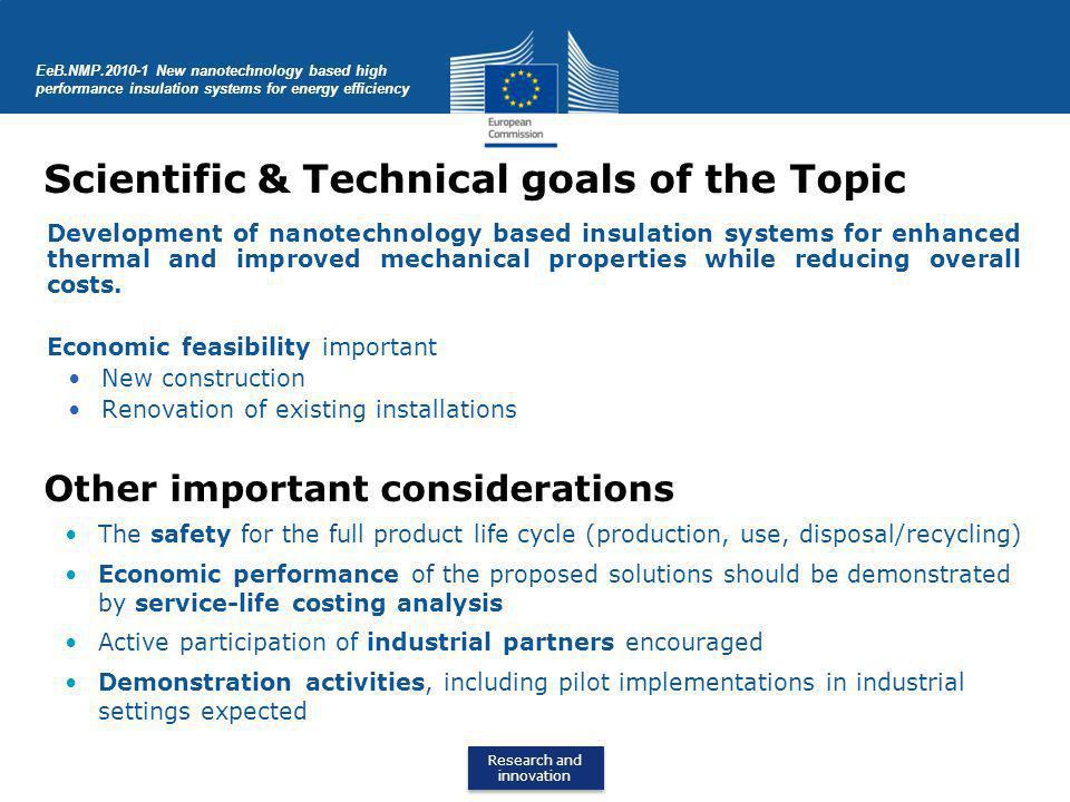 Scientific & Technical goals of the Topic