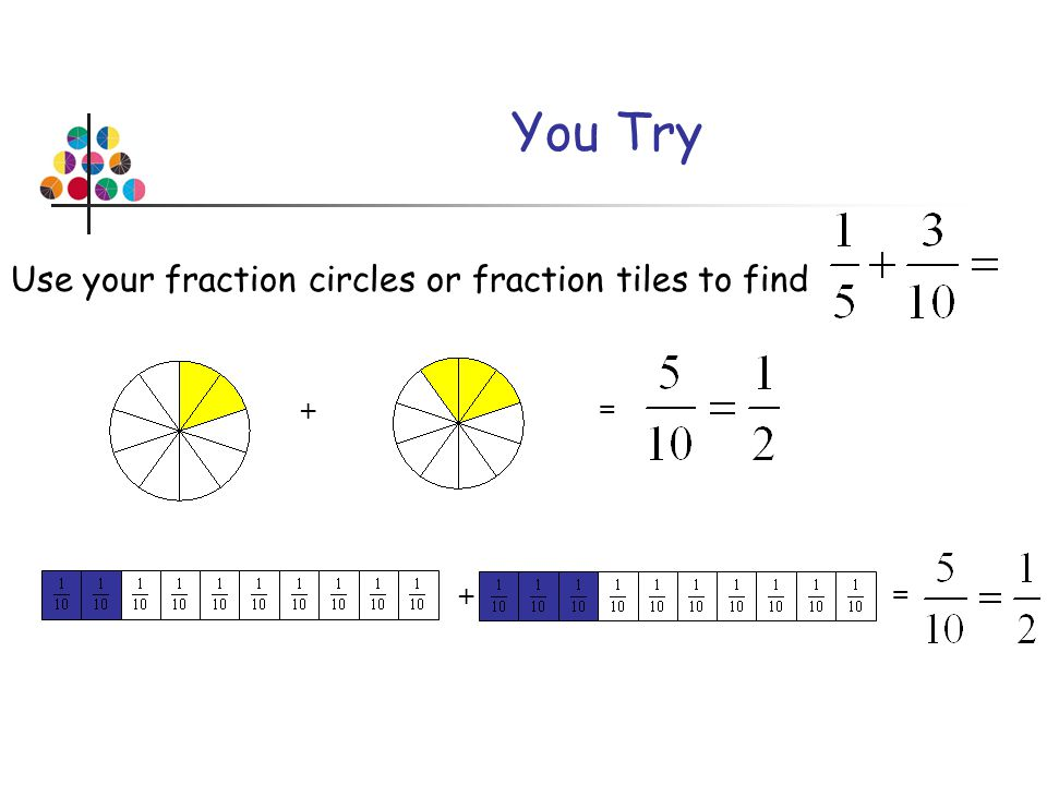 You Try Use your fraction circles or fraction tiles to find + = + =
