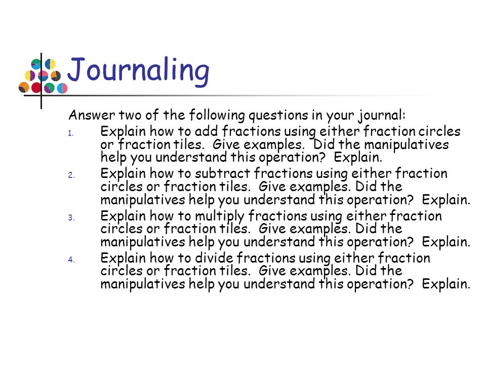 Journaling Answer two of the following questions in your journal: