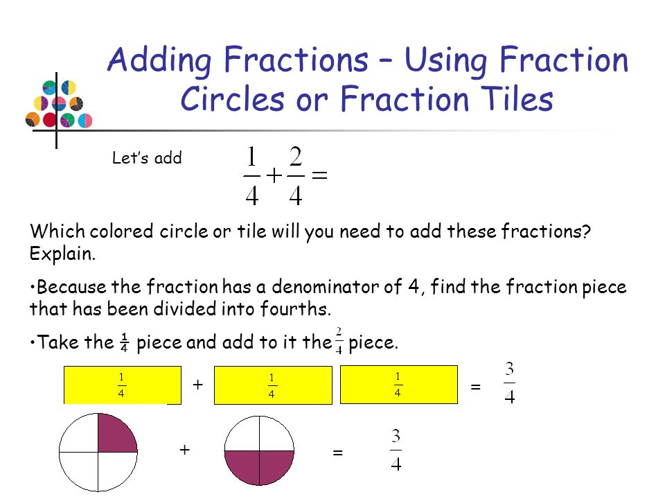 Adding Fractions – Using Fraction Circles or Fraction Tiles