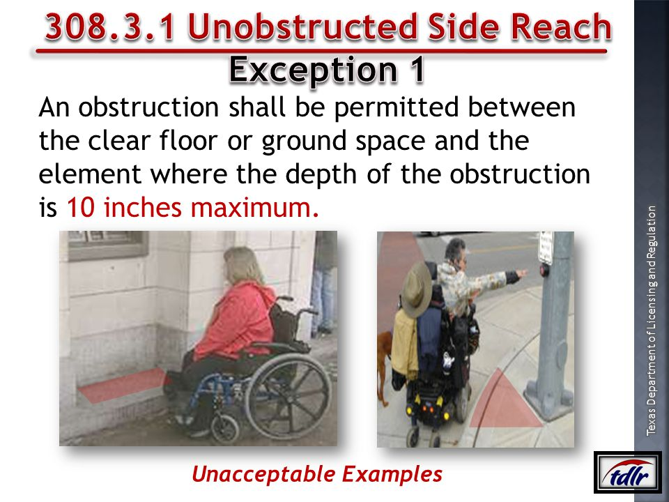 308.3.1 Unobstructed Side Reach Unacceptable Examples