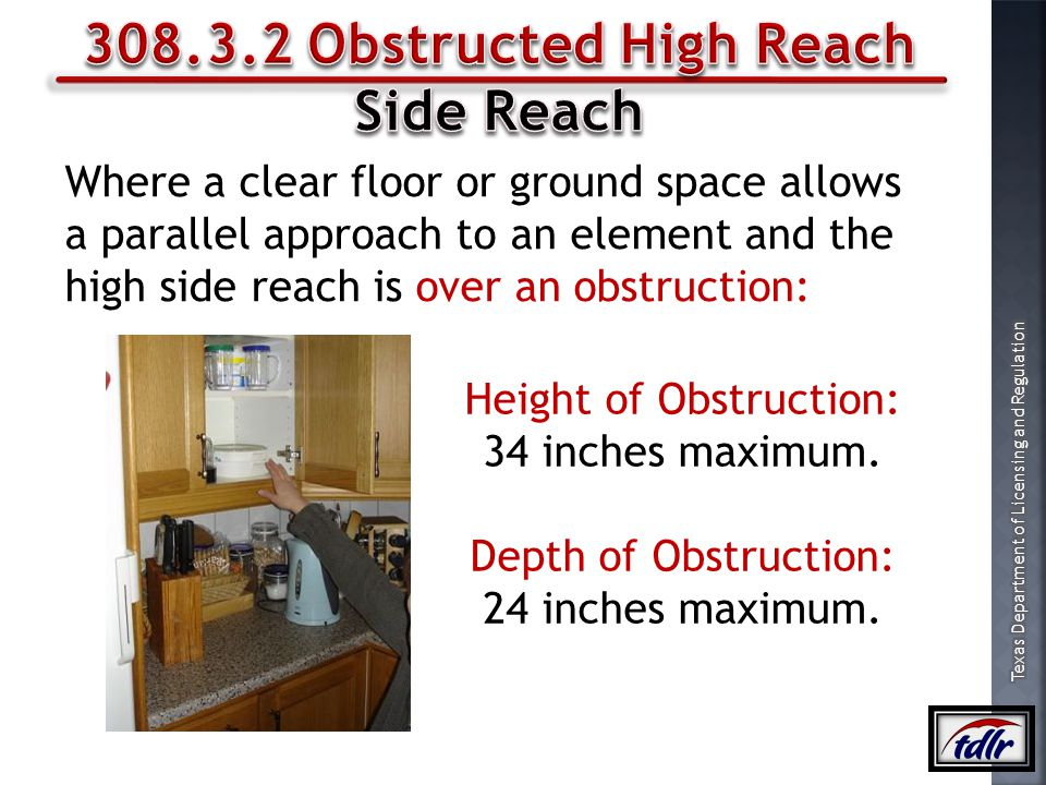 308.3.2 Obstructed High Reach Side Reach