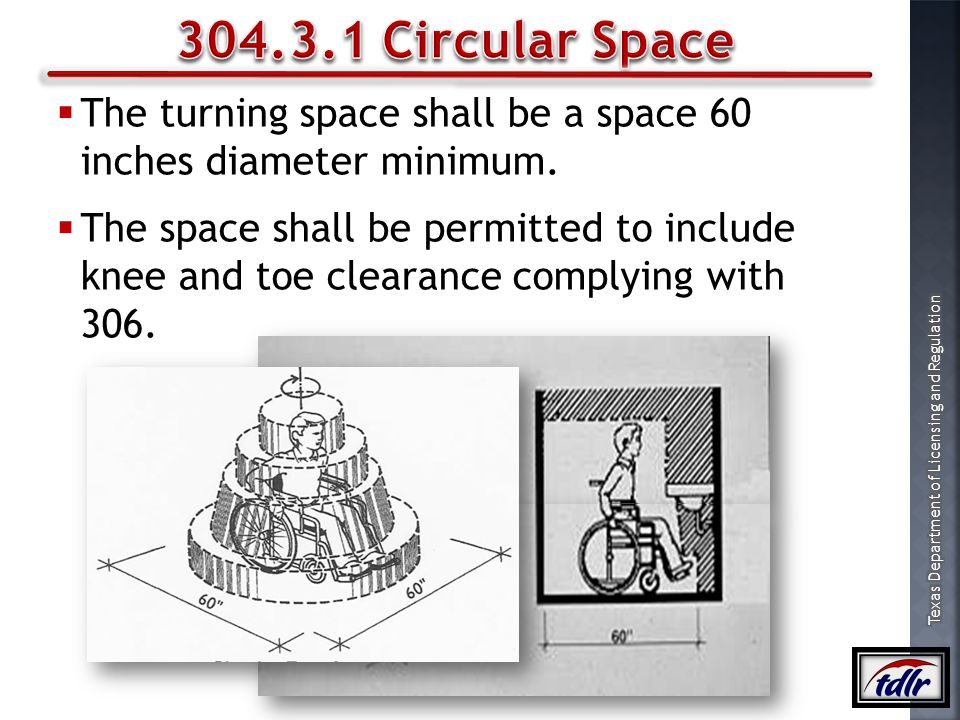 304.3.1 Circular Space The turning space shall be a space 60 inches diameter minimum.