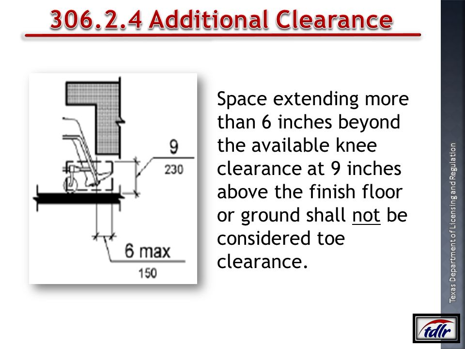 306.2.4 Additional Clearance Space extending more than 6 inches beyond
