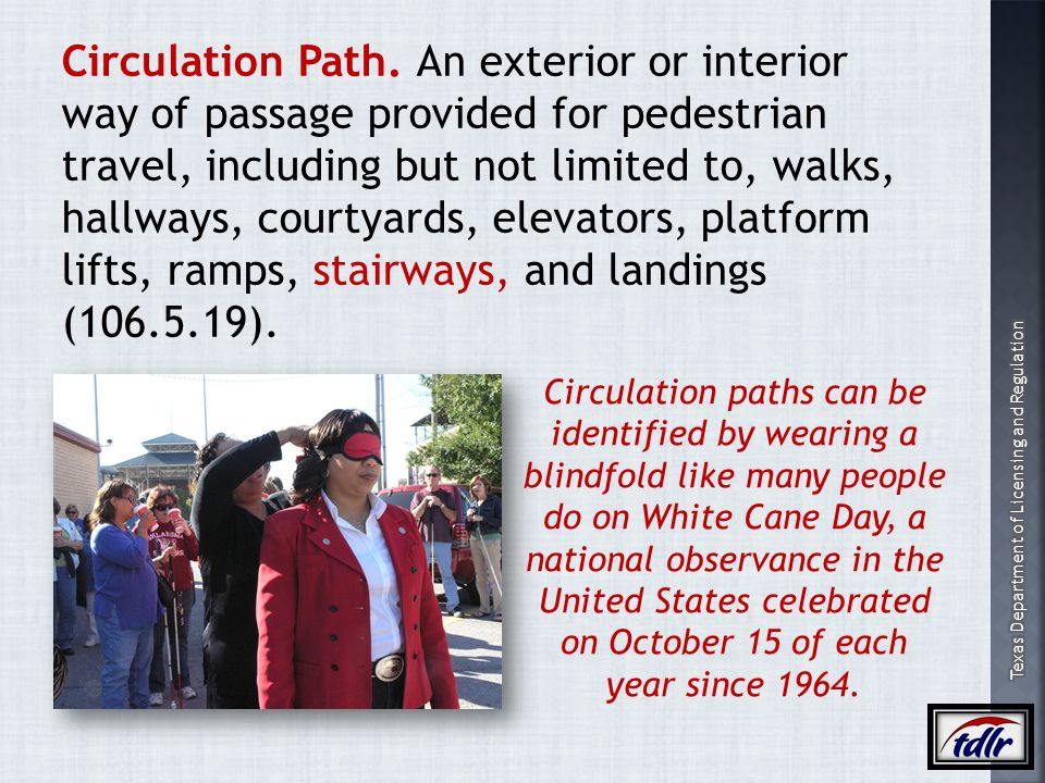 Circulation Path. An exterior or interior way of passage provided for pedestrian travel, including but not limited to, walks, hallways, courtyards, elevators, platform lifts, ramps, stairways, and landings (106.5.19).