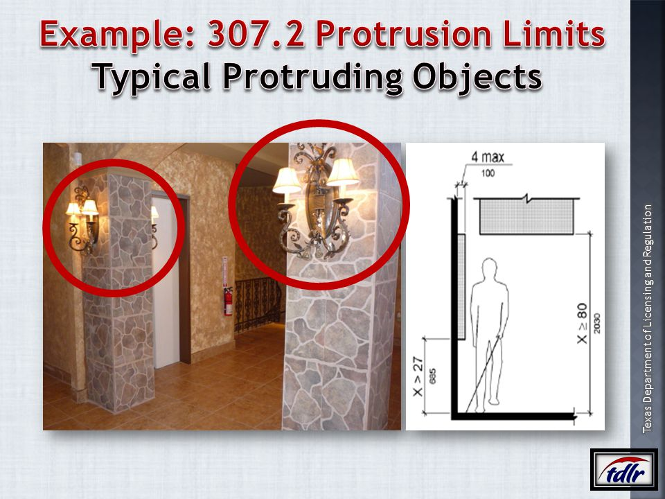 Example: 307.2 Protrusion Limits Typical Protruding Objects