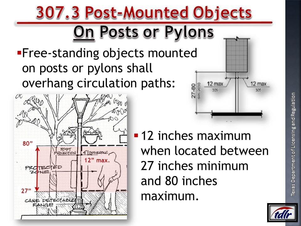 307.3 Post-Mounted Objects On Posts or Pylons