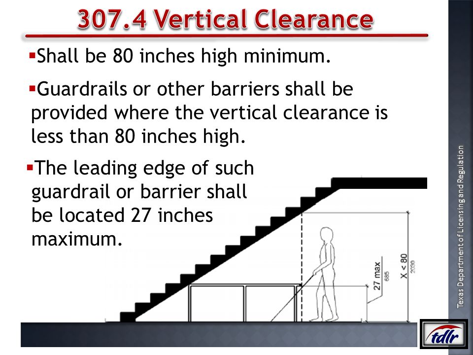 307.4 Vertical Clearance Shall be 80 inches high minimum.