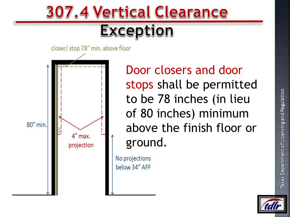 307.4 Vertical Clearance Exception