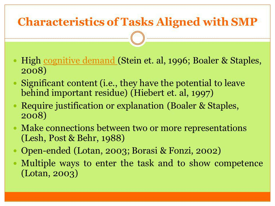 Characteristics of Tasks Aligned with SMP