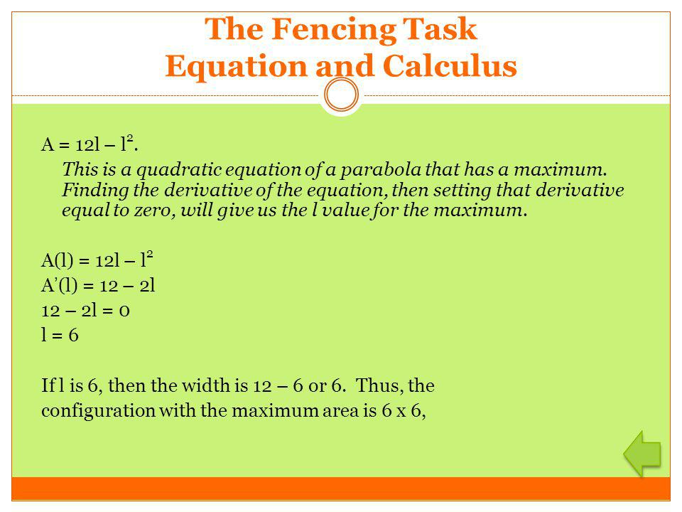 The Fencing Task Equation and Calculus