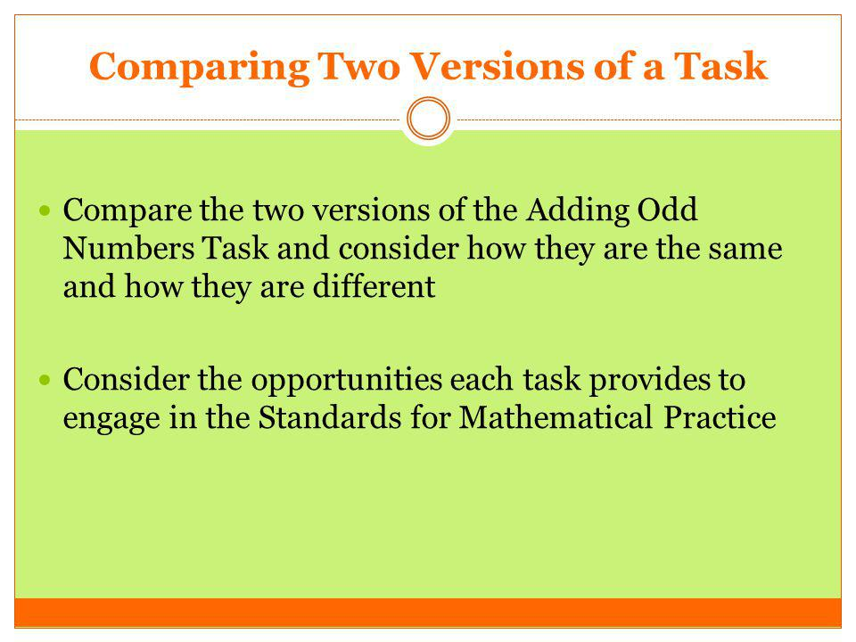 Comparing Two Versions of a Task