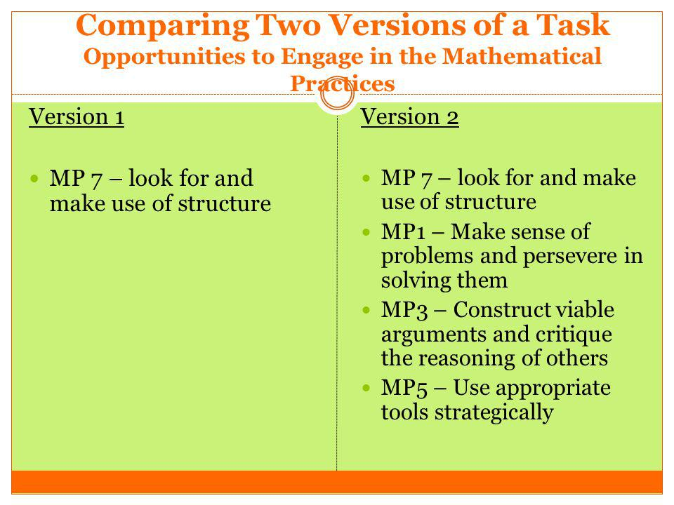 Comparing Two Versions of a Task Opportunities to Engage in the Mathematical Practices