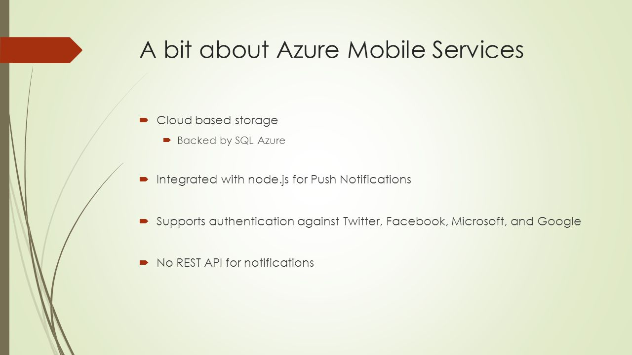 A bit about Azure Mobile Services